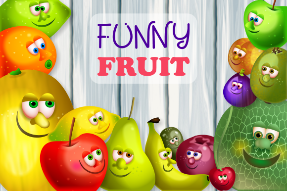 Print on Demand: Funny Face Fruit Gang Nature Clipart Graphic Illustrations By Prawny