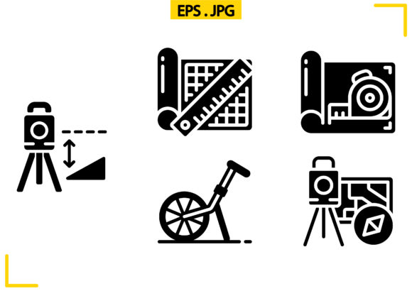 Geodetic Survey and Measuring Solid Graphic Icons By raraden655