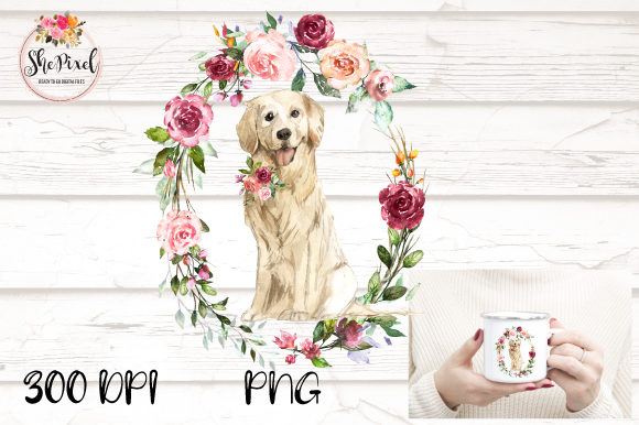 Print on Demand: Golden Retriever Clipart, Watercolor Graphic Illustrations By ShePixel