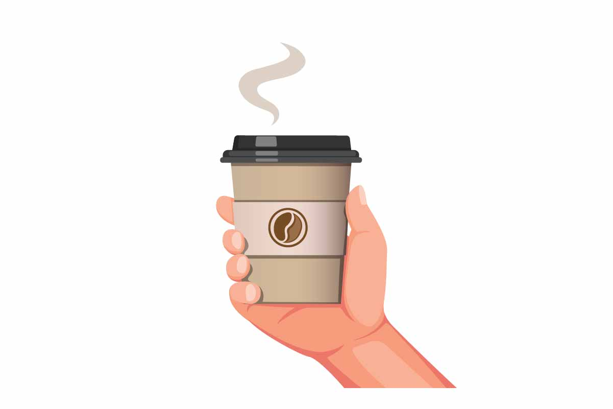 Download Free Hand Holding Coffee Cup Packaging Vector Graphic By Aryo Hadi for Cricut Explore, Silhouette and other cutting machines.
