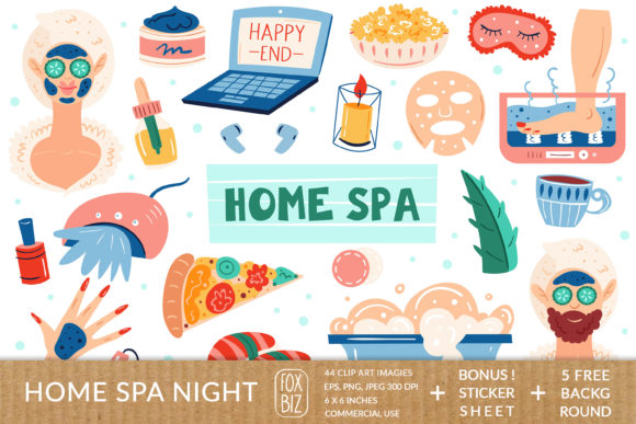 Print on Demand: Home Spa Clipart Digital Prints Stickers Graphic Illustrations By FoxBiz