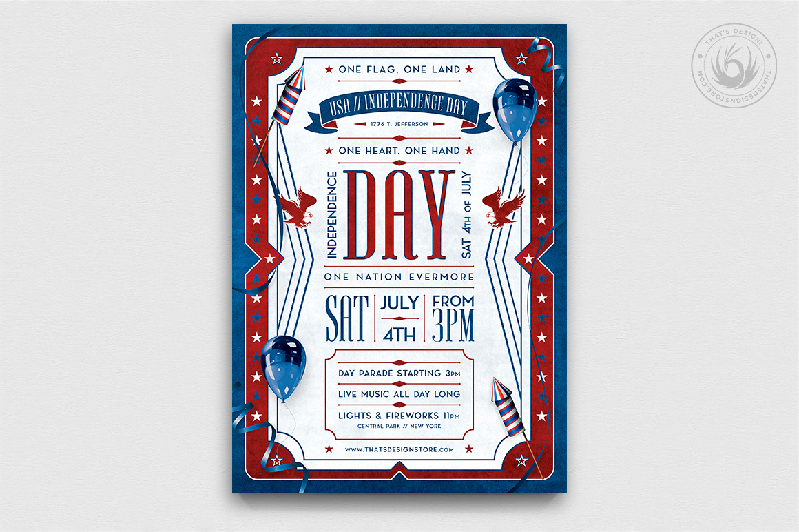 Download Free Independence Day Flyer Template V4 Graphic By Thatsdesignstore for Cricut Explore, Silhouette and other cutting machines.
