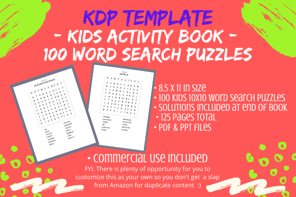 Print on Demand: KDP Interior – Kids Word Search Puzzles Graphic KDP Interiors By Tomboy Designs