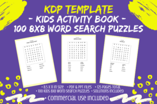 Print on Demand: KDP – Kids Word Search Puzzle Book, 8x8 Graphic KDP Interiors By Tomboy Designs