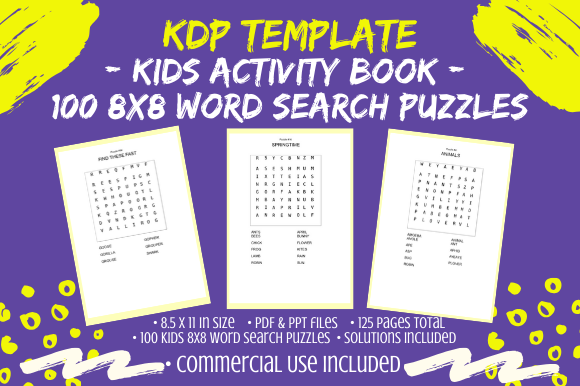 Download Free 75 Kids Word Search Puzzles 10x10 Graphic By Tomboy Designs for Cricut Explore, Silhouette and other cutting machines.