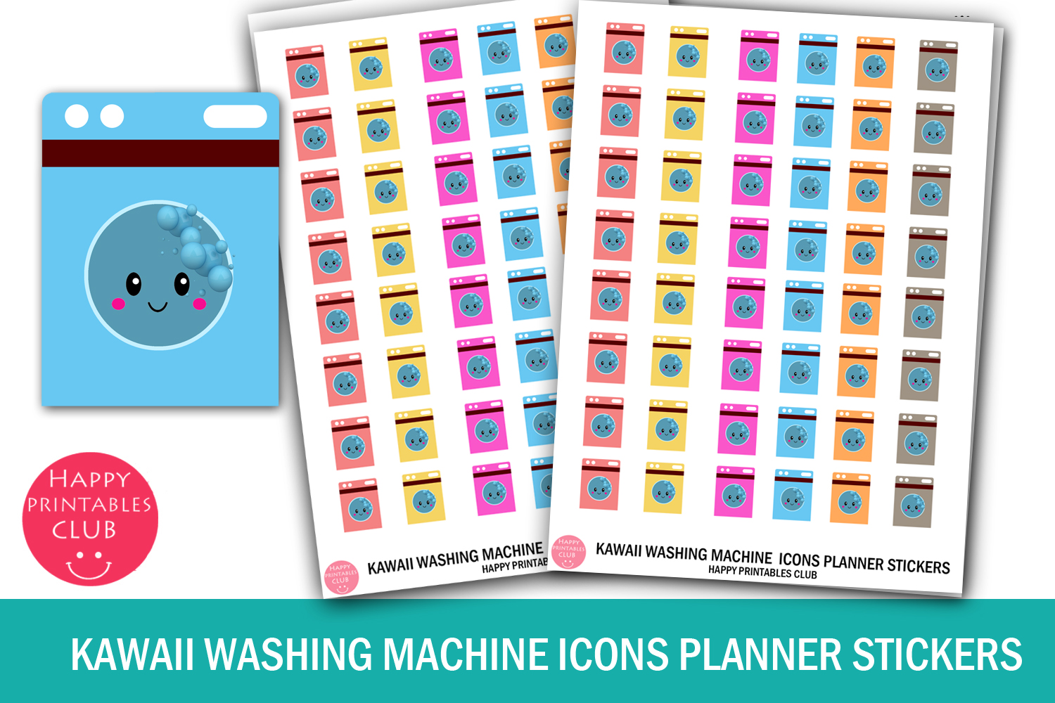 Kawaii Washing Machine Icon Stickers Graphic By Happy Printables
