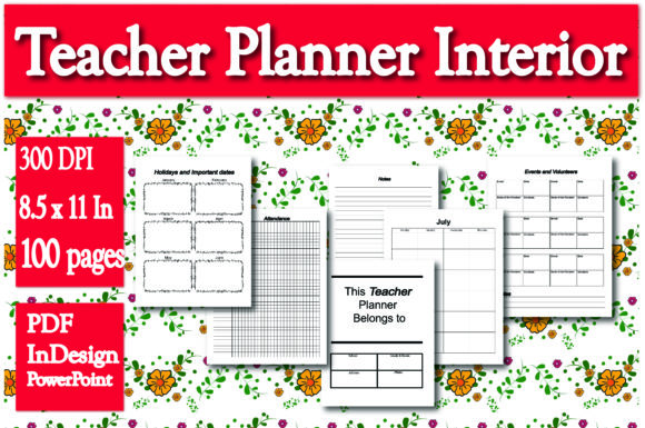 Print on Demand: KDP Interior Teacher Planner Graphic KDP Interiors By Ivana Prue