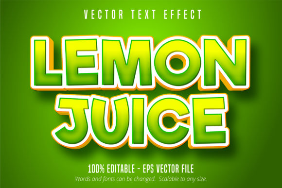 Lemon Juice Text Green Editable Text Ef Graphic By Mustafa