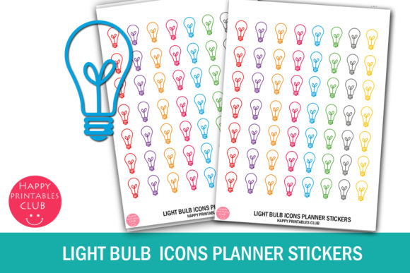 Print on Demand: Light Bulb Icons Planner Stickers Graphic Crafts By Happy Printables Club