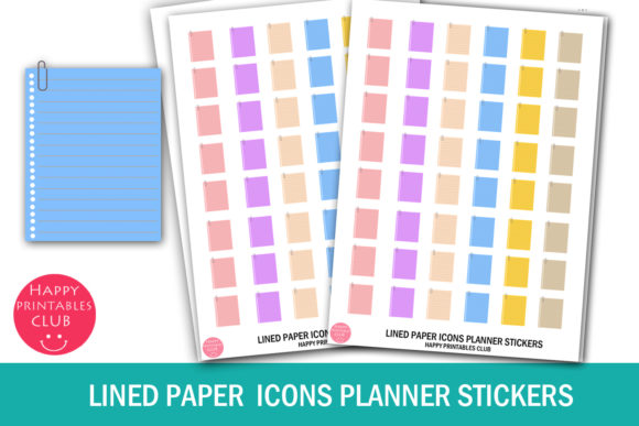 Print on Demand: Lined Paper Icons Planner Stickers-Icons Graphic Crafts By Happy Printables Club
