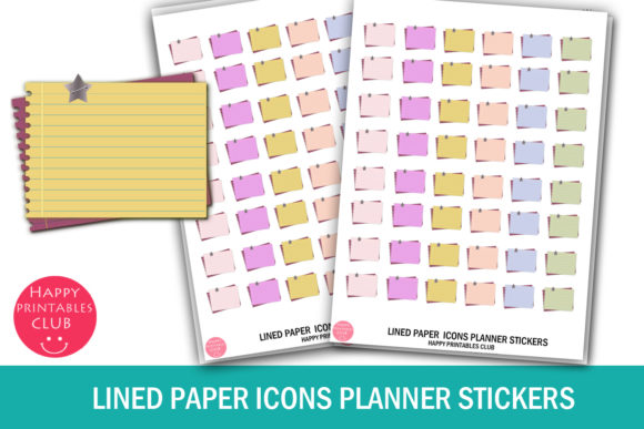Print on Demand: Lined Paper Planner Stickers Icons Graphic Crafts By Happy Printables Club
