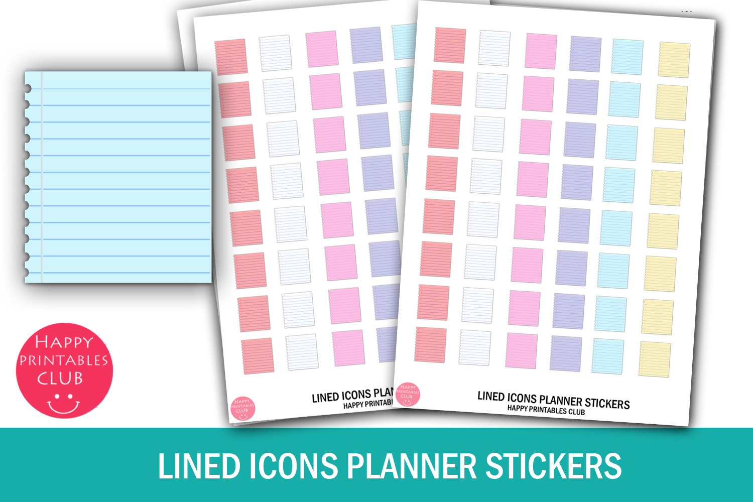 Lined Paper Planner Stickers-Icons SVG File