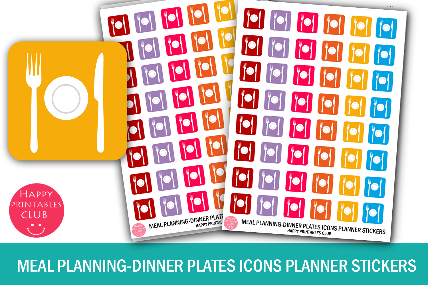 Download Free Meal Planning Icons Planner Stickers Graphic By Happy Printables for Cricut Explore, Silhouette and other cutting machines.