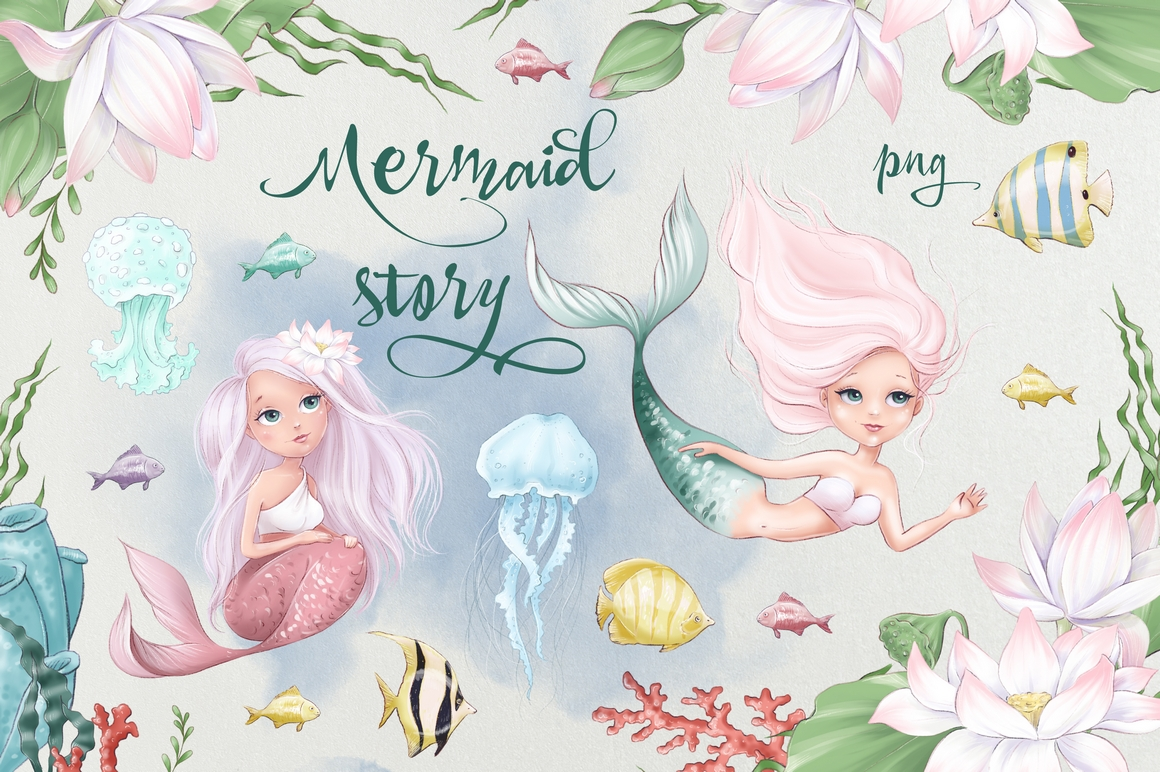 Download Free Mermaid Story Graphic By Nicjulia Creative Fabrica for Cricut Explore, Silhouette and other cutting machines.
