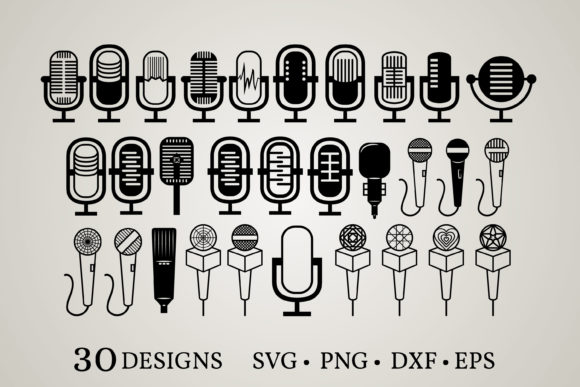 Download Free Microphone 30 Designs Graphic By Euphoria Design Creative for Cricut Explore, Silhouette and other cutting machines.