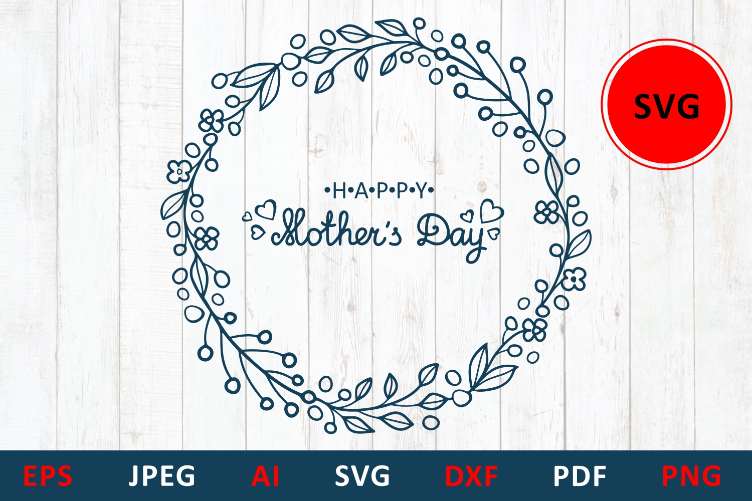 Download Free Mother S Day Card Flower Wreath Graphic By Millerzoa Creative Fabrica for Cricut Explore, Silhouette and other cutting machines.