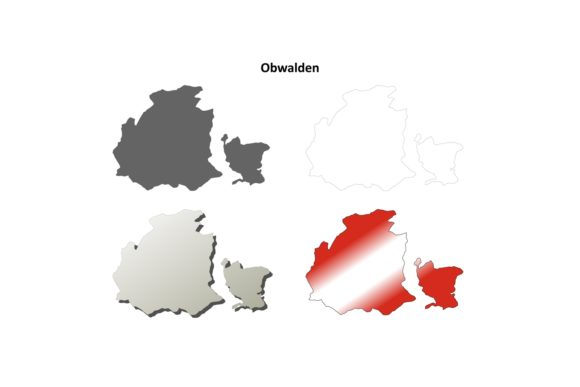 Download Free Obwalden Outline Map Set Graphic By Davidzydd Creative Fabrica for Cricut Explore, Silhouette and other cutting machines.