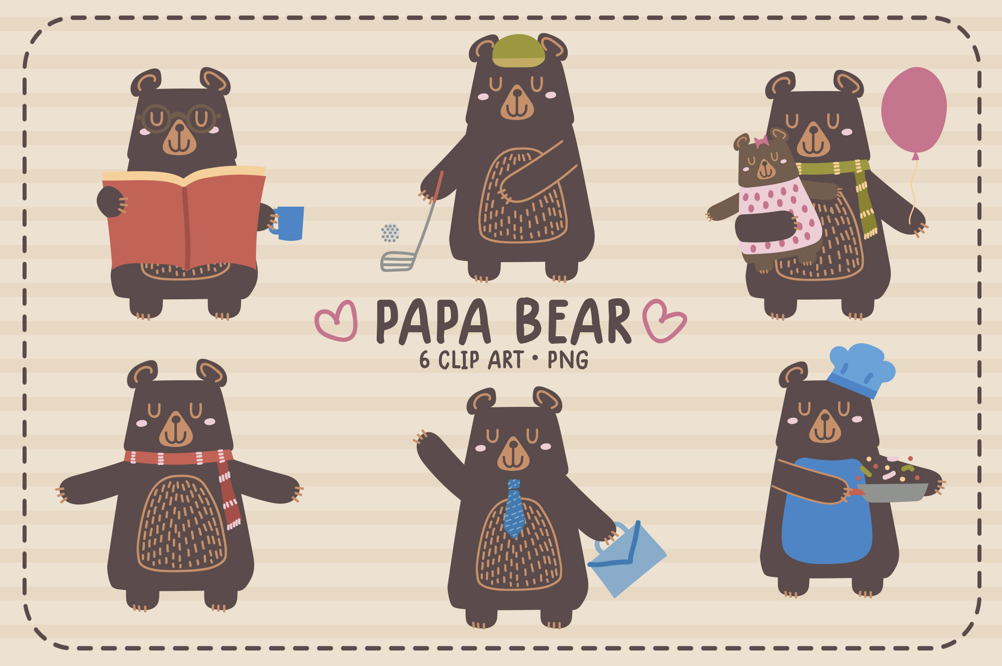 Download Free Papa Bear Clip Art Illustrations Graphic By Sgt Ruthless for Cricut Explore, Silhouette and other cutting machines.