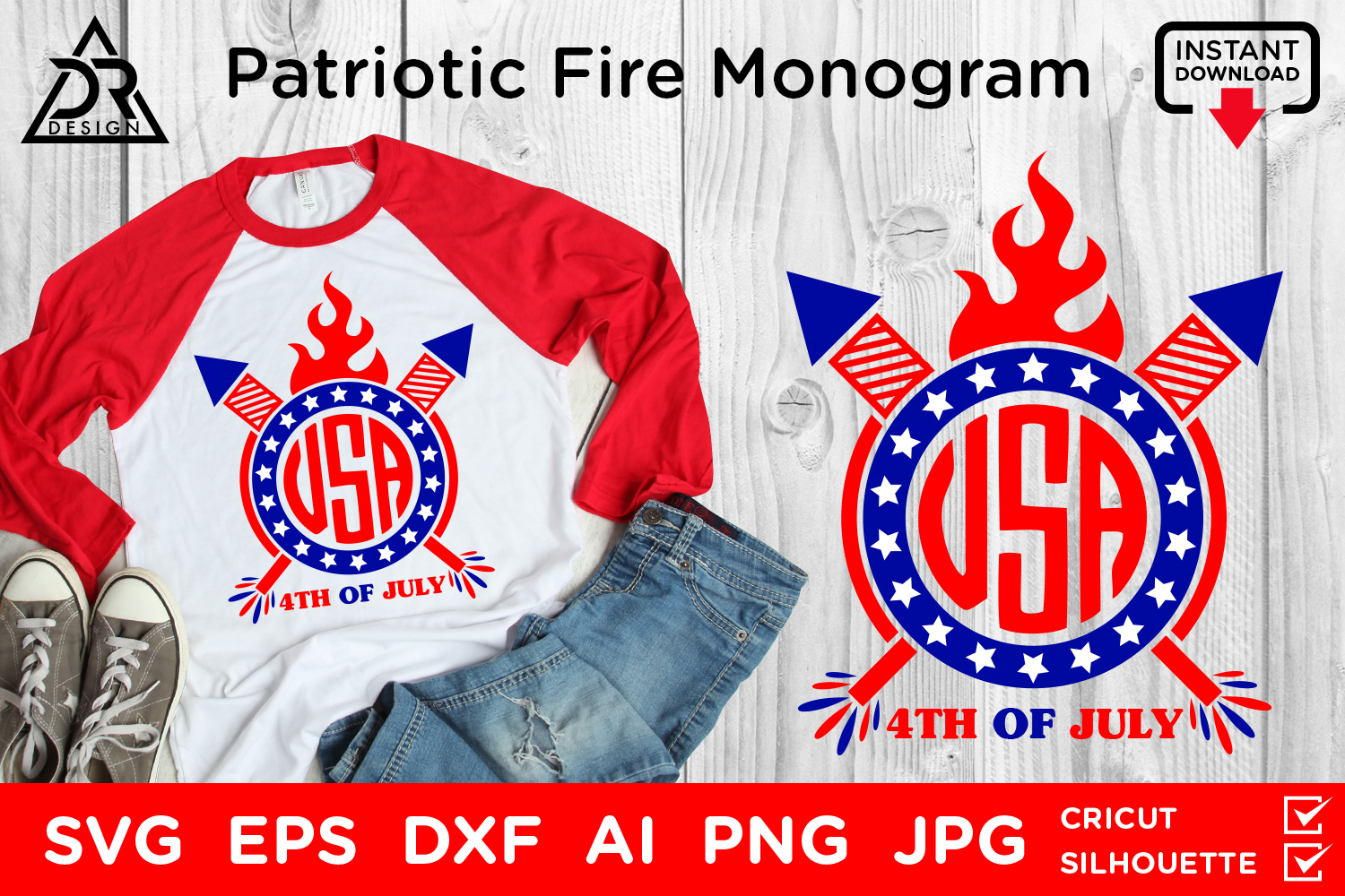 Download Free Patriotic Fire Monogram Graphic By Davidrockdesign Creative for Cricut Explore, Silhouette and other cutting machines.