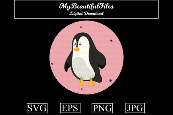 Download Free Penguin Kawaii Cartoon Graphic By Mybeautifulfiles Creative for Cricut Explore, Silhouette and other cutting machines.