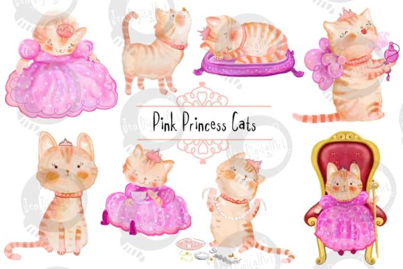 Pink Princess Cats Graphic Illustrations By Jen Digital Art
