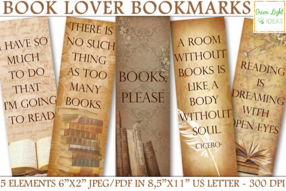Printable Bookmarks, Vintage Bookmarks Graphic Objects By GreenLightIdeas