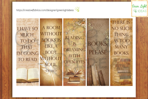 Download Free Printable Bookmarks Vintage Bookmarks Graphic By Greenlightideas Creative Fabrica for Cricut Explore, Silhouette and other cutting machines.