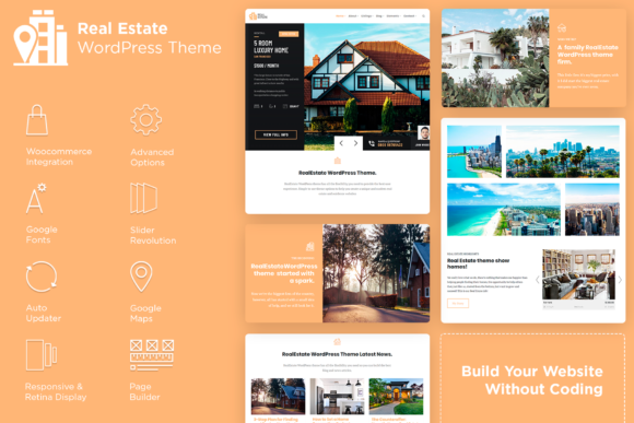 Real Estate WordPress Theme Gráfico WordPress Por Visualmodo WordPress Themes