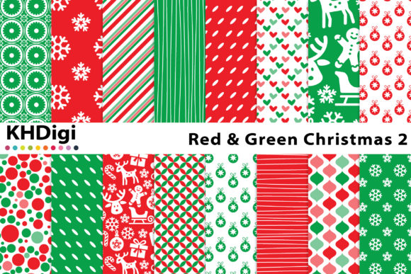 Download Free Red Green Christmas 2 Digital Paper Graphic By Khdigi for Cricut Explore, Silhouette and other cutting machines.