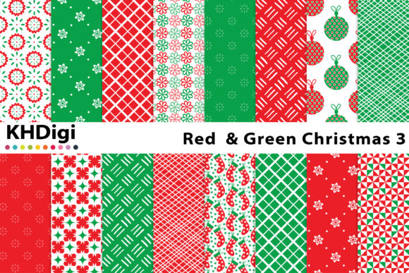 Download Free Red Green Christmas 3 Digital Paper Graphic By Khdigi for Cricut Explore, Silhouette and other cutting machines.