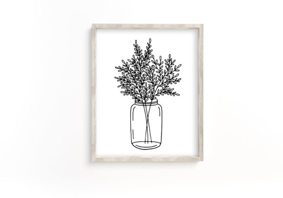 Sketched Mason Jar with Leaves. Graphic Crafts By RedDotsHouse