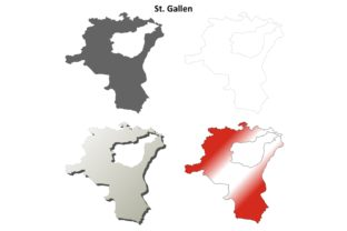St. Gallen Outline Map Set Graphic Illustrations By davidzydd