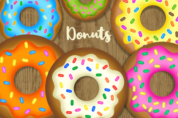 Print on Demand: Tasty Baked Sweet Sprinkled Donuts Graphic Illustrations By Prawny