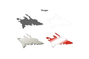Thurgau Outline Map Set Graphic Illustrations By davidzydd