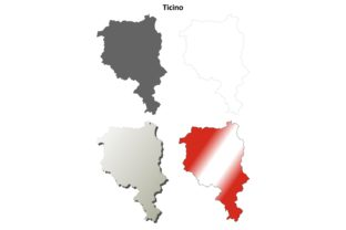 Ticino Outline Map Set Graphic Illustrations By davidzydd