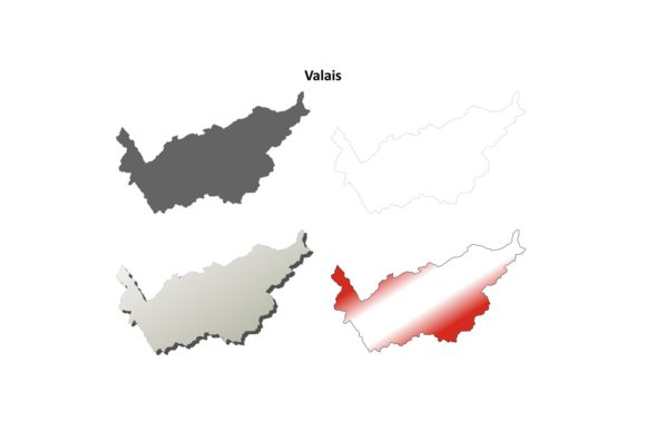 Download Free Valais Outline Map Set Graphic By Davidzydd Creative Fabrica SVG Cut Files