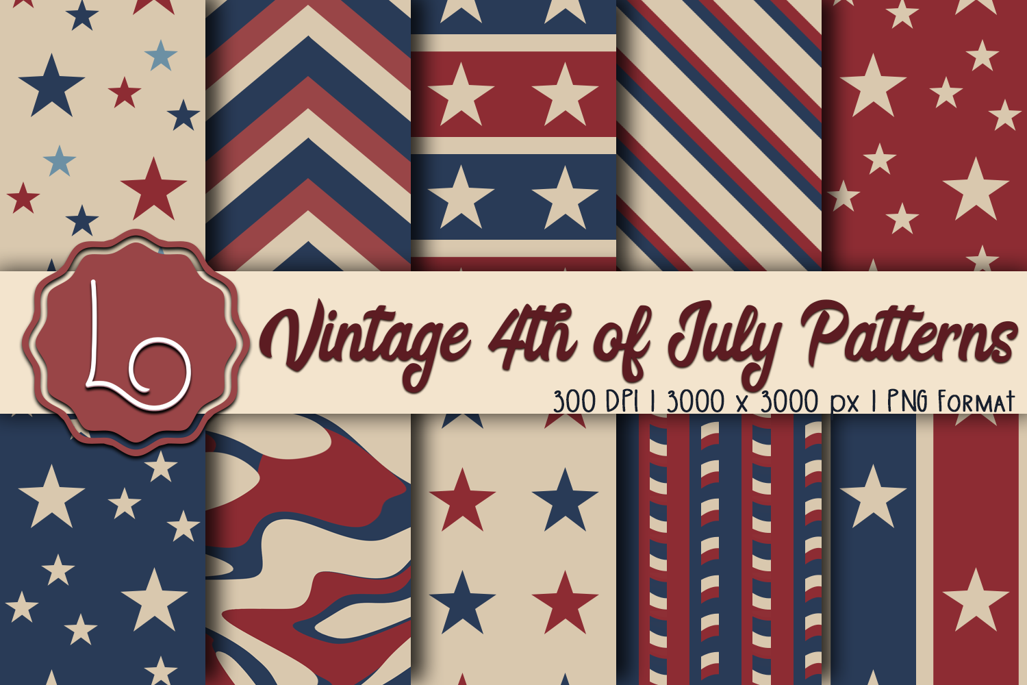 Download Free Vintage 4th Of July Patterns Graphic By La Oliveira Creative for Cricut Explore, Silhouette and other cutting machines.