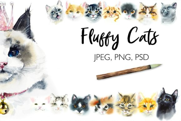 Watercolor Fluffy Cats Graphic Illustrations By Мария Кутузова