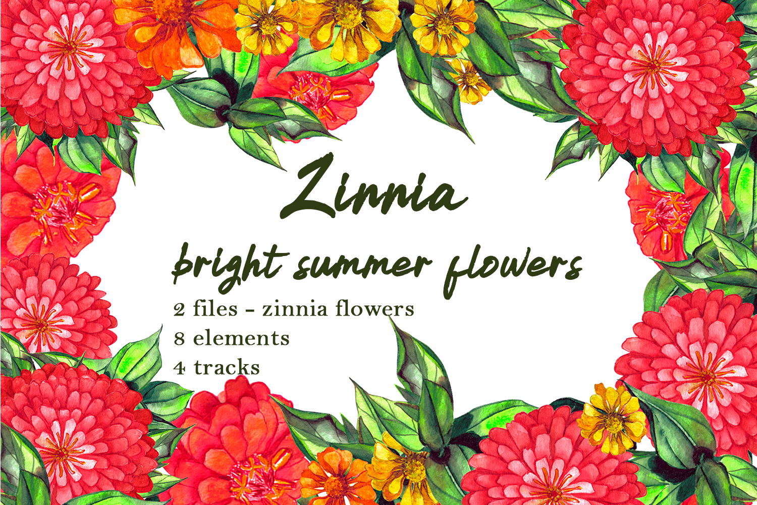 Download Free Watercolor Zinnia Set Of Clip Art Graphic By Elenazlataart for Cricut Explore, Silhouette and other cutting machines.