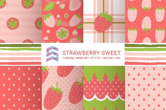 Download Free Whimsical Strawberry Digital Paper Graphic By Sgt Ruthless for Cricut Explore, Silhouette and other cutting machines.