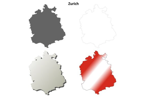 Download Free Zurich Outline Map Set Graphic By Davidzydd Creative Fabrica for Cricut Explore, Silhouette and other cutting machines.