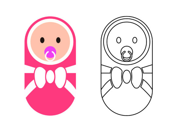 Cute Pink Newborn Kids Coloring Vector Graphic Icons By 1tokosepatu