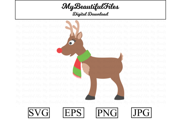 Download Free Reindeer Christmas Clipart Illustration Graphic By for Cricut Explore, Silhouette and other cutting machines.