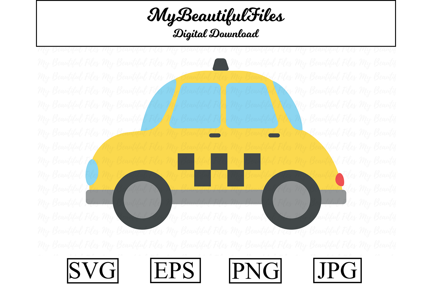 Download Free Taxi Clipart Illustration Graphic By Mybeautifulfiles Creative for Cricut Explore, Silhouette and other cutting machines.