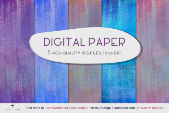 Print on Demand: 5 Cute Digital Paper Background Patterns Gráfico Fondos Por Inkclouddesign
