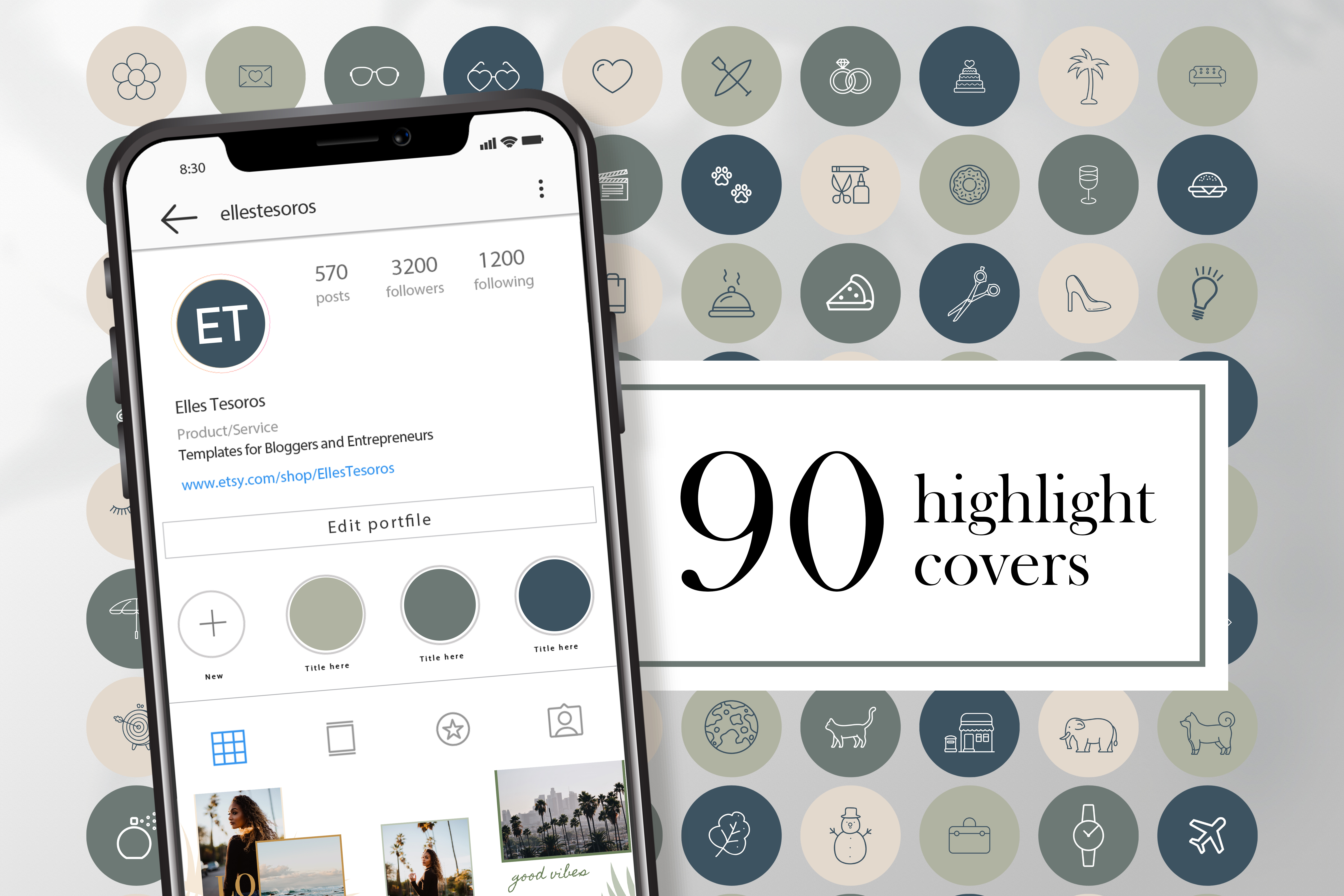 Download Free 90 Instagram Highlight Covers Graphic By Creativepanda for Cricut Explore, Silhouette and other cutting machines.