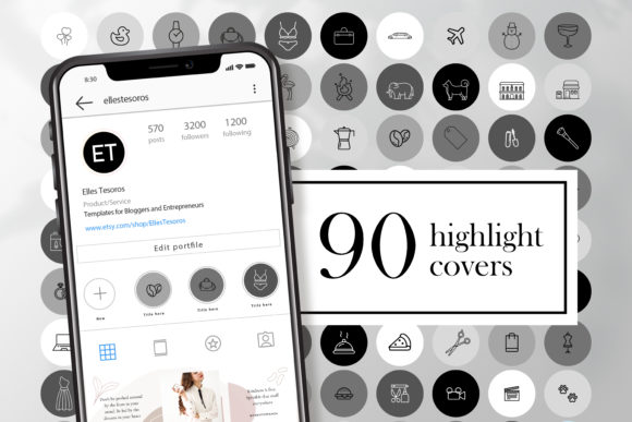 90 Instagram Story Highlight Covers Gray Graphic Web Elements By CreativePanda