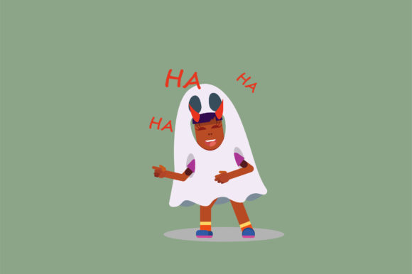 Print on Demand: A Girl with a Ghost Costume - Character Graphic Illustrations By altumfatih