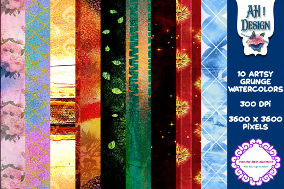 Artsy Grunge Watercolor Papers Graphic Backgrounds By AHDesign