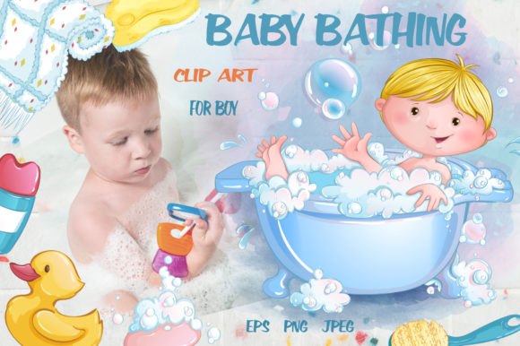 Baby Bathing (for Boys) Graphic Illustrations By Maycat